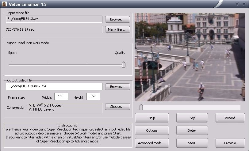 Increase resolution of your video with superb quality and use VirtualDub filters
